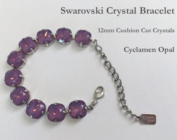 Cyclamen Opal Swarovski Crystal Bracelet, 12mm Cushion Cut Crystals, Adjustable Length