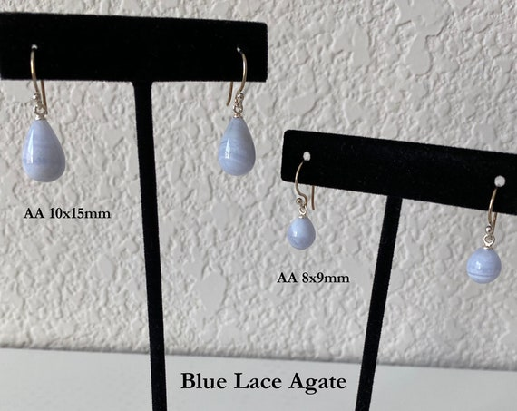 Blue Lace Agate Teardrop Briolette Earrings with Sterling Silver French Wires, Both Sizes Graded AA,