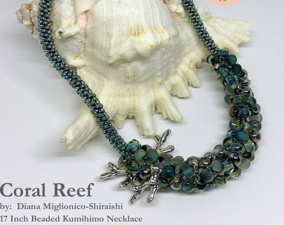 Coral Reef Beaded Kumihimo Necklace, 17 Inch Kumihimo Necklace, Turquoise, Aqua, Unicorne Boro Beads And Sterling Silver Coral Branches