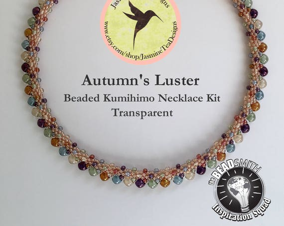 AUTUMN'S LUSTER KIT, Transparent, Beaded Kumihimo Necklace Kit and Tutorial, A Fully Beaded Kumihimo Necklace