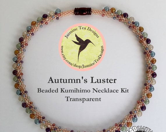 AUTUMN'S LUSTER KIT, Transparent, Beaded Kumihimo Necklace Kit and Tutorial