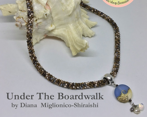 Under The Boardwalk, A Fully Beaded Kumihimo Necklace With Artisan Focal Bead And Magnetic Clasp, 22 Inch Kumihimo Necklace