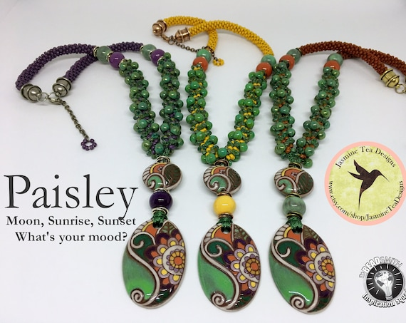 PAISLEY KIT, Beaded Kumihimo Necklace Kit With Tutorial, Choose Sunrise, Sunset Or Purple Moon, Paisley Beaded Kumihimo Kits