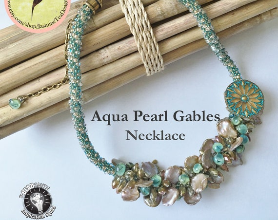 Aqua Pearl Gables Beaded Kumihimo Necklace, Designed by Diana Miglionico-Shiraishi and  Featured in Bead and Button Kumihimo Issue May 2016