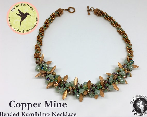 Copper Mine Beaded Kumihimo Necklace, Measures 19 Inches, Antique Copper Tone With Sea Foam, Japanese And Czech Glass Beads