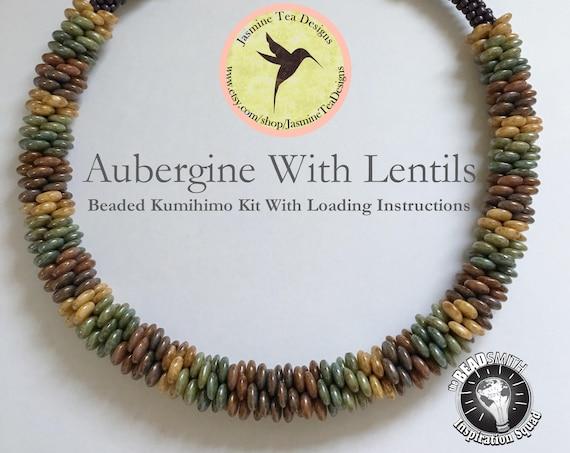 AUBERGINE WITH LENTILS, A Beaded Kumihimo Necklace, A Fully Beaded Kumihimo Necklace With Lentils And Seed Beads, Beaded Kumihimo Kit