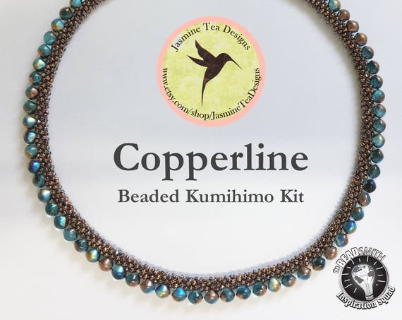 COPPERLINE KIT, Crystal Copper Rainbow And Aqua Copper Rainbow Beaded Kumihimo Necklace Kit, Comes With Both Tex 135 And Tex 210 Cord