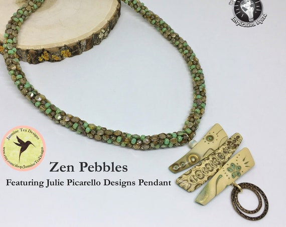 Zen Pebbles Necklace, 18 Inch Beaded Kumihimo Necklace Featuring Julie Picarello Designs Pendant