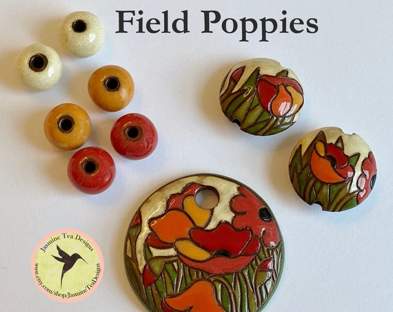 Field Poppies with Coordinating Lentils and Solid Rounds, Exclusive 9 Piece Sets From Golem Design Studio for Jasmine Tea Designs