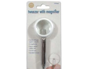Tweezer With Magnifier, 4x Magnification, Extra Fine Point