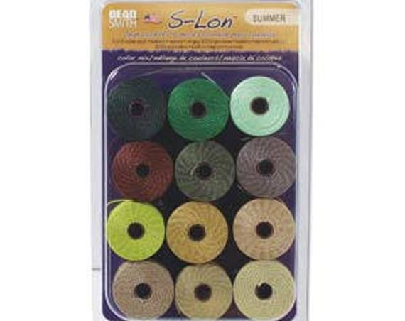 Summer Collection Of Tex 210 S-Lon Beading Cord, 12 Spools of Tex 210 Beading Cord
