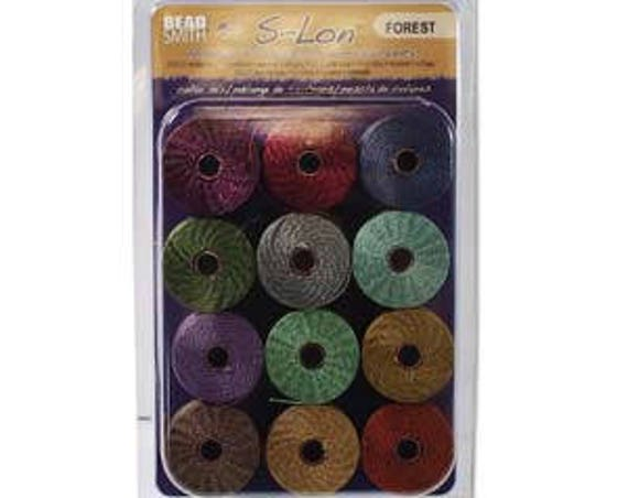 Forest Collection Of Tex 210 S-Lon Beading Cord, 12 Spools of Tex 210 Beading Cord