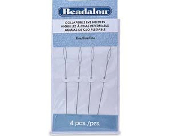 Beadalon FINE Collapsible Eye Needles, 4 Needles Per Pack, 2.5 Inches
