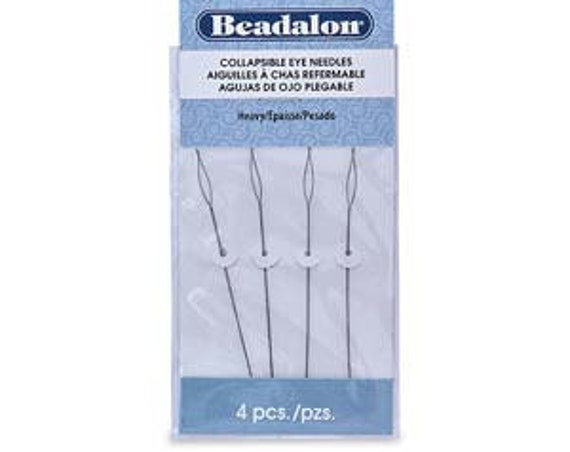 Beadalon HEAVY Collapsible Eye Needles, 4 Needles Per Pack, 2.5 Inches