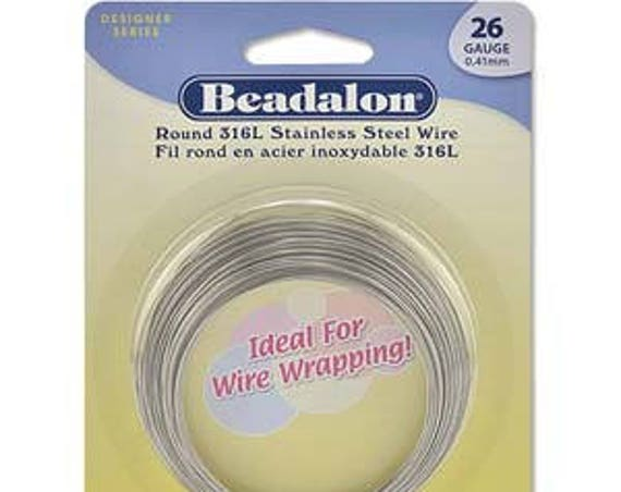 26 Gauge Beadalon 316L Stainless Steel Wrapping Wire, Round, 3/4 Hard