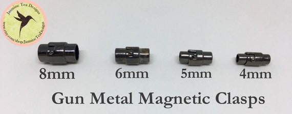Gun Metal Magnetic Clasps In 4 Sizes, 8mm, 6mm, 5mm And 4mm, Round Magnetic Clasps, Locking Clasps