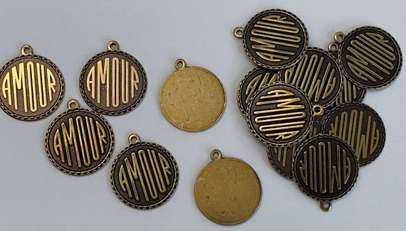 Amour Charm, Trinity Brass Antique Gold, This listing is for 16 Individual Amour Charms, 16 Pieces As Shown