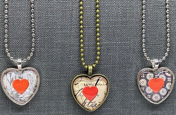Valentine Heart Necklaces With Red Heart, Set of 3 Necklaces, 2 Silver Tone, 1 Brass Tone, All 18 Inches Long With Ball Chain And Clasp