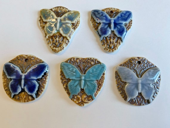 Butterfly Porcelain Pendants, High Fired Porcelain Pendants, Botanical Scroll Design, Green, Blue, Turquoise Glazes, Five Different Designs