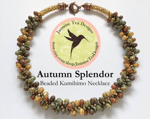Autumn Splendor Beaded Kumihimo Necklace, 19 Inch Beaded Kumihimo Necklace With Antique Copper Details. Five Color Luster Teardrop Necklace