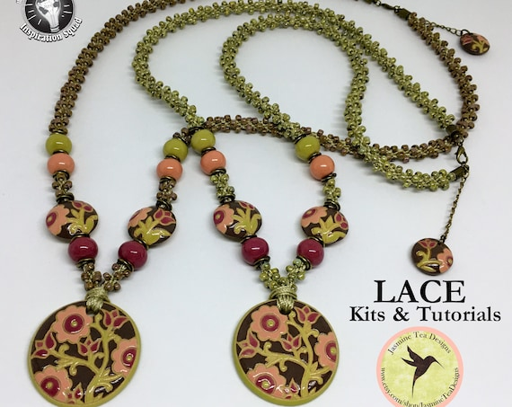 LACE KIT, Kumihimo Necklace Kit, Create This Partially Beaded Kumihimo Necklace Featuring Golem Design Studio Beads