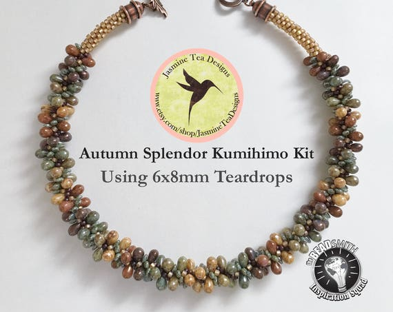 AUTUMN SPLENDOR KIT, Using 6x8mm Five Color Luster Teardrop Beads, Creates A 19 Inch Necklace, Kumihimo Kit With Loading Instructions, Sale