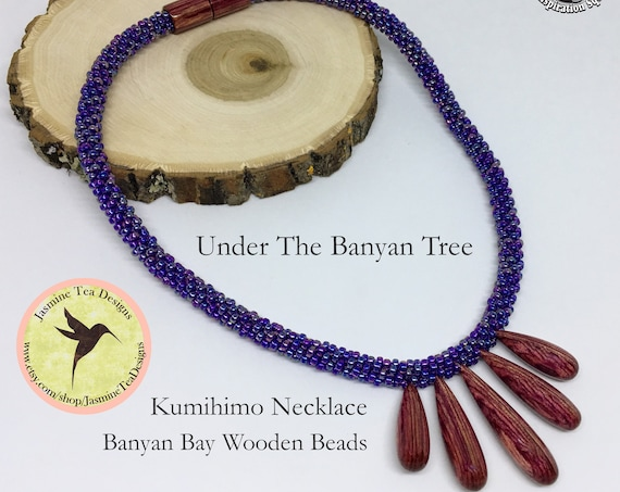 Under The Banyan Tree, A Fully Beaded Kumihimo Necklace, 17 Inch Beaded Kumihimo Necklace, Banyan Bay Studio Focal Beads And Magnetic Clasp