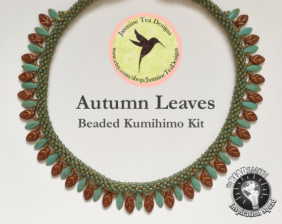 AUTUMN LEAVES KIT, A Fully Beaded Kumihimo Necklace with Embellishment Kit and Tutorial