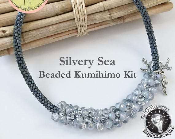 SILVERY SEA KIT, A Fully Beaded Kumihimo Necklace Kit, Tutorial Included, Sterling Silver Coral Branches