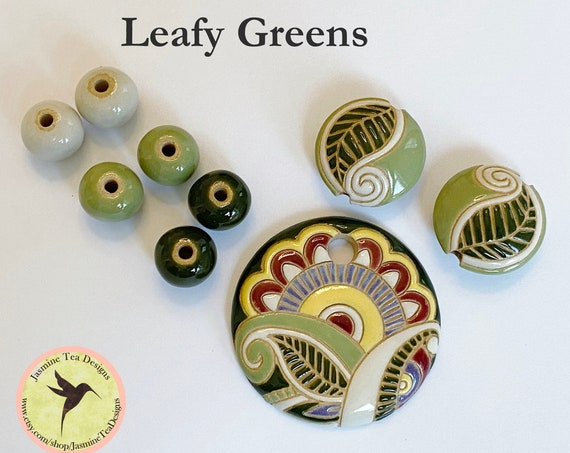 Leafy Greens Paisley with Coordinating Lentils and Solid Rounds, Exclusive 9 Piece Sets From Golem Design Studio for Jasmine Tea Designs