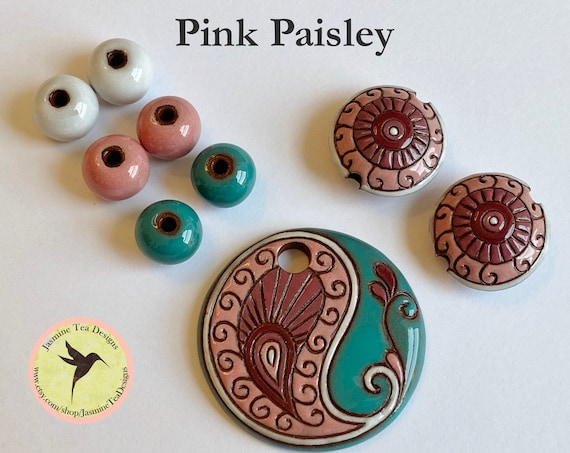 Pink Paisley Pendant with Coordinating Lentils and Solid Rounds, Exclusive 9 Piece Sets by Golem Design Studio for Jasmine Tea Designs