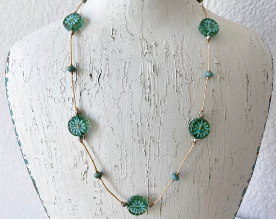 Aqua Aster Hand Knotted Necklace, Aqua Aster Star Czech Glass Beads, 16 Inch Necklace