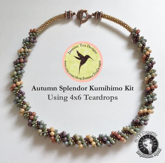 AUTUMN SPLENDOR SWIRL, Using 4x6mm Five Color Luster Teardrop Beads, Necklace Kit With Loading Instructions, Beaded Kumihimo Kit