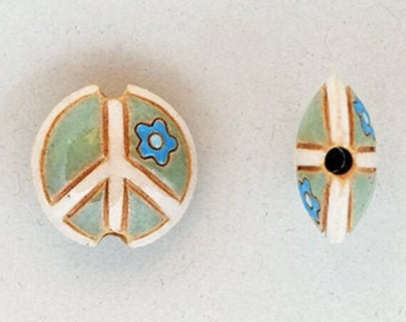 Peace Sign Bead, Teal And White Peace Sign With Periwinkle Flower, Artisan Focal Bead Grouping, Golem Design Studio Beads