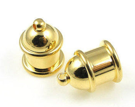 Gold 8mm End Caps,  8mm End Cap Set, 2 Pieces Gold Plated Brass Pagoda Cord Ends for Kumihimo Braids, Tierra Cast Pagoda End Caps