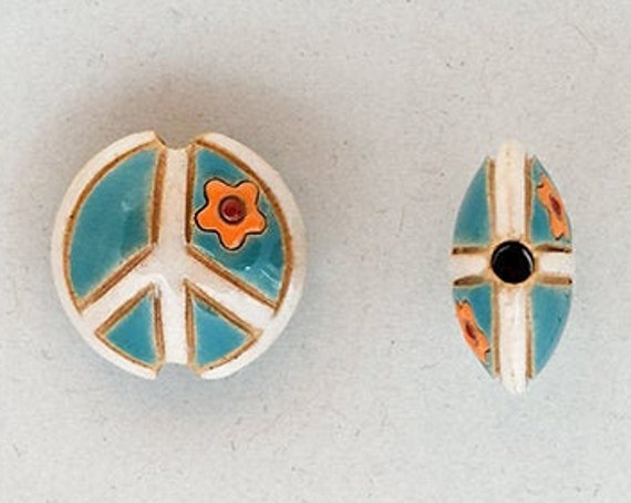 Peace Sign Bead, Teal And White Peace Sign With Orange Flower, Artisan Focal Bead Grouping, Golem Design Studio Beads