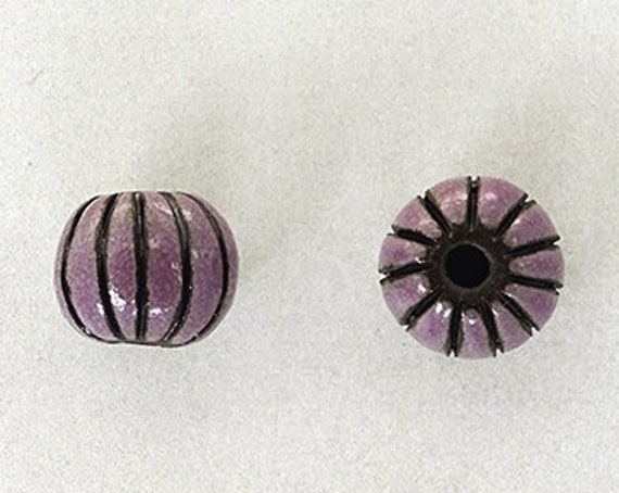 Purple Glazed Melon Beads On Black Clay, Hand Carved Melon Beads, Large Hole Beads For Kumihimo, Spacer Beads, Golem Beads