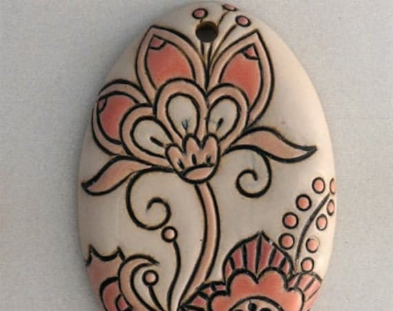 Cotton Flower Oval Pendant In Pink And White On Terracotta, Golem Design Studio Beads, Large Oval Pendant