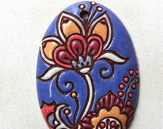 Cotton Flower Oval Pendant In Blue And Coral On Terracotta, Golem Design Studio Beads, Large Oval Pendant