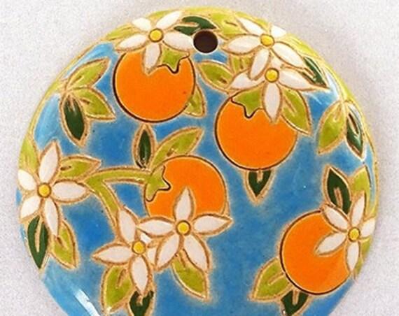 Oranges On Blue, Round Pendant, Large Pendant, Artisan Focal Beads, Golem Design Studio Beads