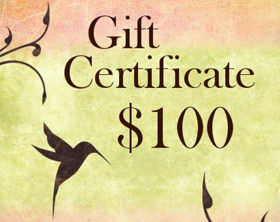 One Hundred Dollar Gift Certificate For Shopping At Jasmine Tea Designs Etsy Shop