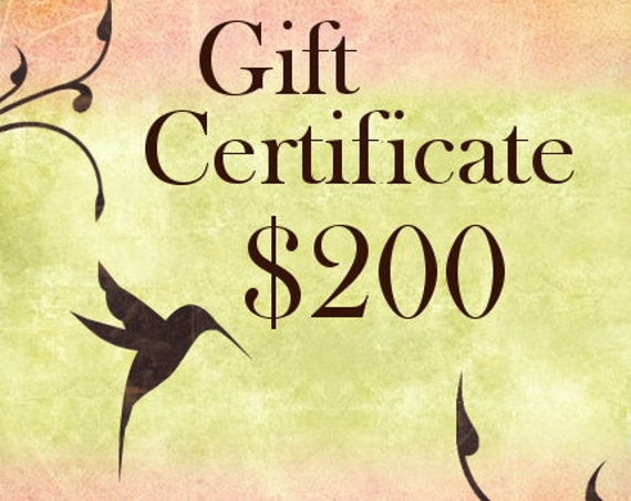 Two Hundred Dollar Gift Certificate For Shopping At Jasmine Tea Designs Etsy Shop