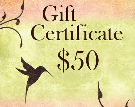 Fifty Dollar Gift Certificate For Shopping At Jasmine Tea Designs Etsy Shop
