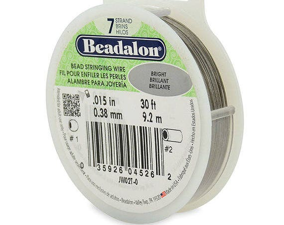 Beadalon Bead Stringing Wire, 7 Strand, .015 inches, 30' Spool, Bright