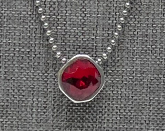 Swarovski Siam Red 12mm Square Solitaire Necklace, 21 Inch Antique Silver Plated Necklace With 2 Inch Extender with Heart Dangle