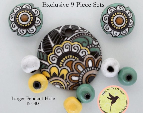 Paisley Flower And Leaf Pendant And Lentils With Coordinating Accent Beads, Beads For Kumihimo Design , Large Hole Beads, Set of 9 Beads