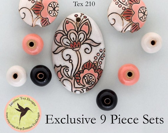 Cotton Flower Oval Pendant In Pink And White With Lentils And Coordinating Rounds, 9 Piece Set Exclusive For Jasmine Tea Designs by Golem
