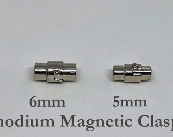 Rhodium Magnetic Clasps In 4 Sizes, 8mm, 6mm, 5mm And 4mm, Round Magnetic Clasps, Locking Clasps