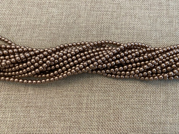 Sand, Shiny 4mm Glass Pearls, 120 Pearls Per Strand