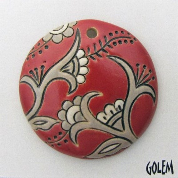 Tuscany Red Cotton Blossoms Focal Pendant, Domed Pendant Bead, Round Ceramic Pendant Bead, Golem Design Studio Beads
